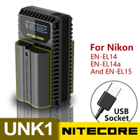 Nitecore UNK1 Digital USB Charger For Nikon Batteries EN EL14 EN EL14a EN EL15 Nikon D5500 D5300 D5200 D5100 D3100 D3200 D3300