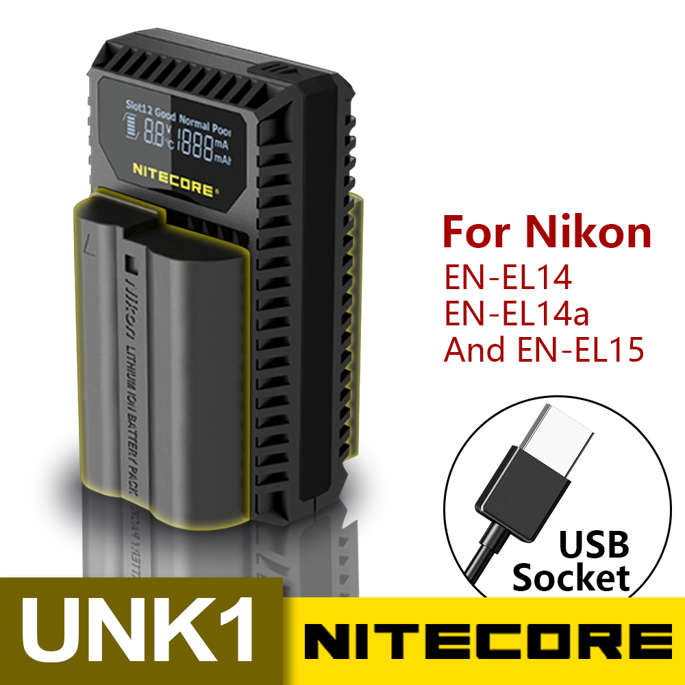 Nitecore UNK1 ładowarka USB do baterii Nikon (EN EL14EN