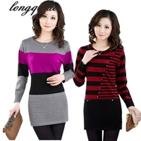 Middle-aged Autumn And Winter Loose Plus Size Mother Dress Sweater Dress Women Long Bottoming Knitwear Dresses