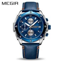 785dd4ada9edd MEGIR توقيت الرجال ووتش Relogio Masculino الأزرق جلدية الأعمال ساعة كوارتز ساعة  الرجال الإبداعية الجيش العسكرية