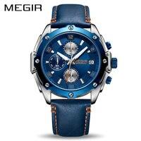 MEGIR Chronograph Men Watch Relogio Masculino Blue Leather Business Quartz Watch Clock Men Creative Army Military