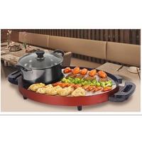 220 В бытовой антипригарный Корейский Электрический бездымный барбекю гриль и горячий горшок Teppanyaki Pan для наружной Вечерние