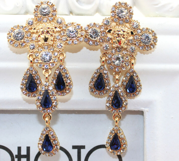 Free Shipping 2015 fashion vintage design baroque crystal drop pendant earrings For Women 1pair/lot gold alloy cross earrings