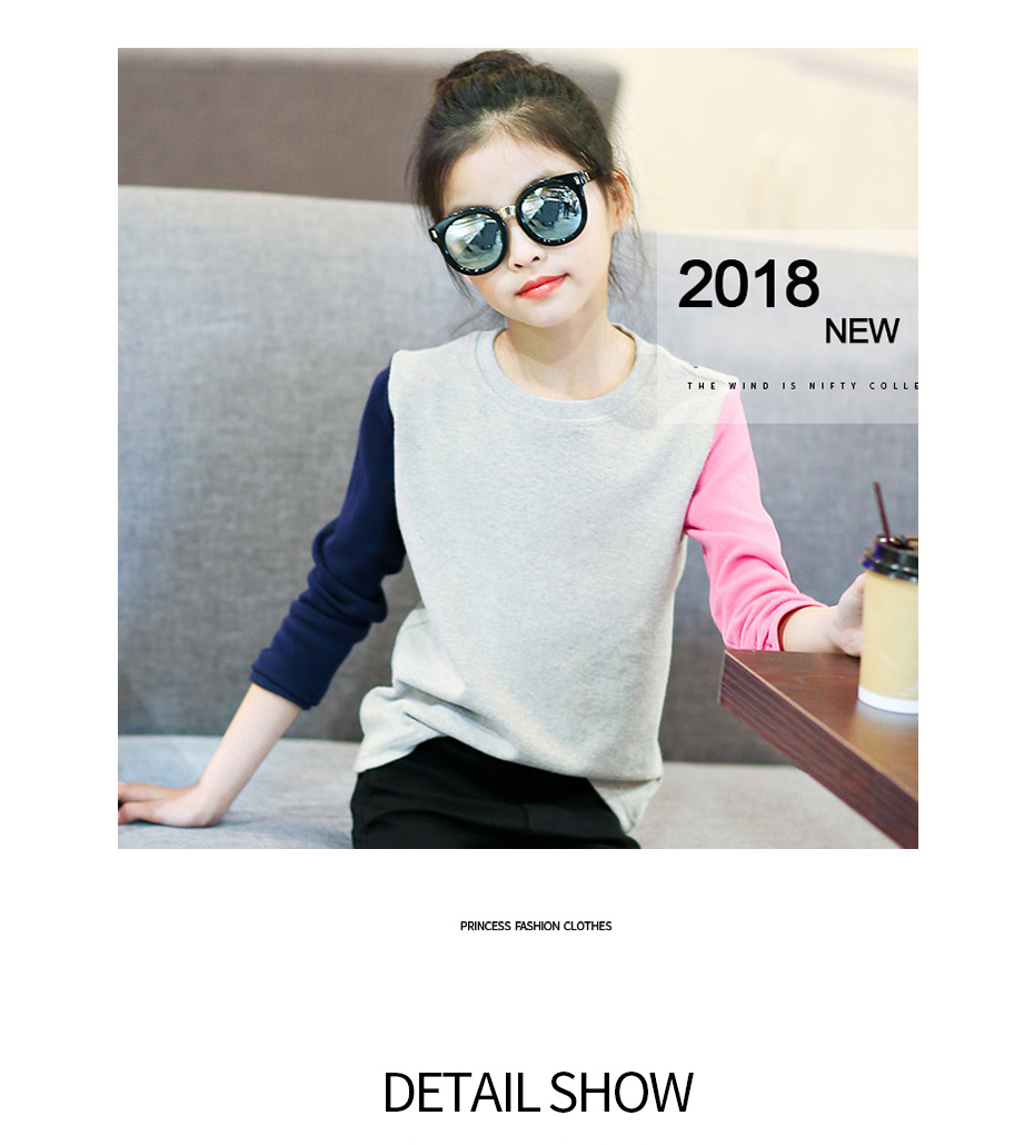 HTB138zzXjgy uJjSZR0q6yK5pXal - Girls T Shirts Kids Spring Summer Shirts For Girls Long Sleeve Patchwork Girls T-Shirt Tops 6 8 9 10 12 Years Big Girls Clothes