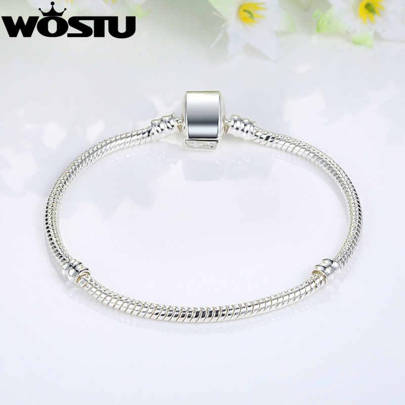 WOSTU nowy projekt srebrny łańcuszek żmijka łańcuch zapięcie magnetyczne europejski urok koralik Fit marka bransoletka Bangle biżuteria dla kobiet prezent dla mężczyzny