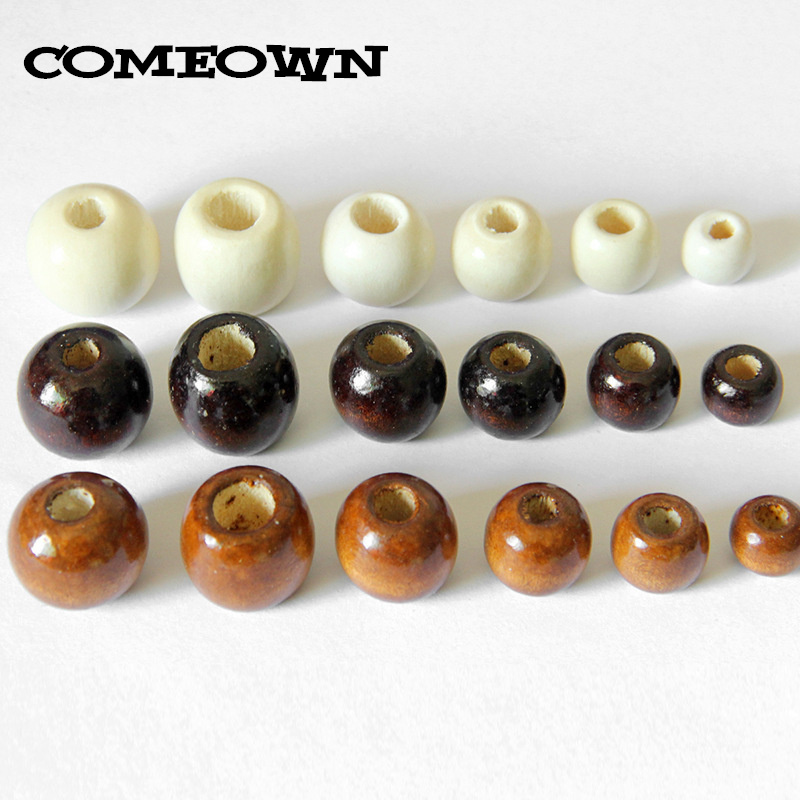 50pcs//Lots Big Hole Round Natural Wood Ball Spacer Loose Beads 16mm