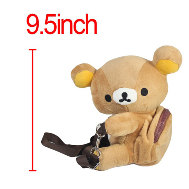 Original Small Novelty Kawaii Cute Plush Bear Animal Shaped Rilakkuma Coin Purse Bag For Women Girl Christmas Gift 22cm