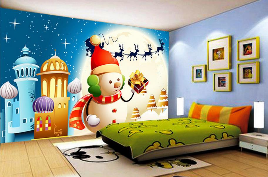 customize 3d wall murals wallpaper Cartoon Christmas snowman 3d wallpaper living room luxury wallpaper papel de parede para sal