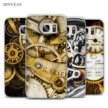 BINYEAE Watch movement Clock desgin Clear Phone Case Cover for Samsung Galaxy Note 2 3 4 5 7 S3 S4 S5 Mini S6 S7 S8 Edge Plus