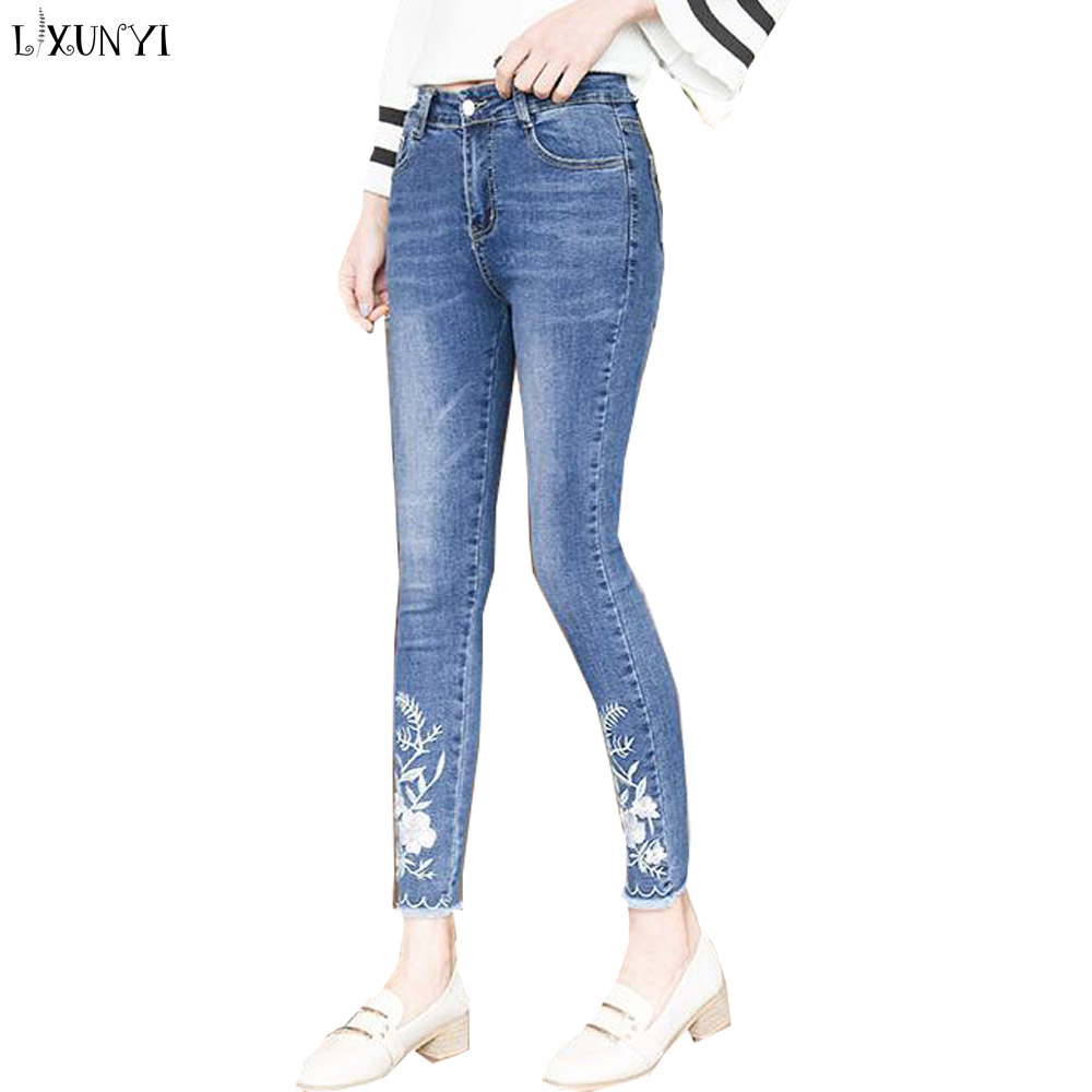 LXUNYI Stretch jeans High Waist Vintage Embroidery Skinny Pencil Jeans Women Slim Thin Tassels Casual Ankle Length Denim Pants new women jeans high waist ankle length slim pencil pants fashion female jeans plus size jeans femme 2017 irregular holes jeans