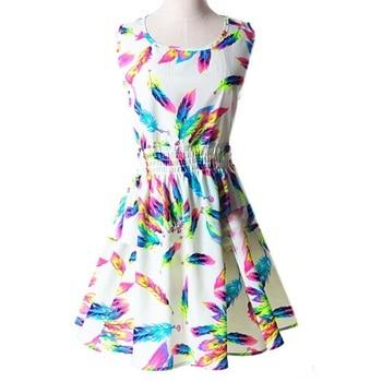 Young Girls Dress Summer New Women Large Size Round Neck Sleeveless Floral Chiffon Print Dresses цена 2017