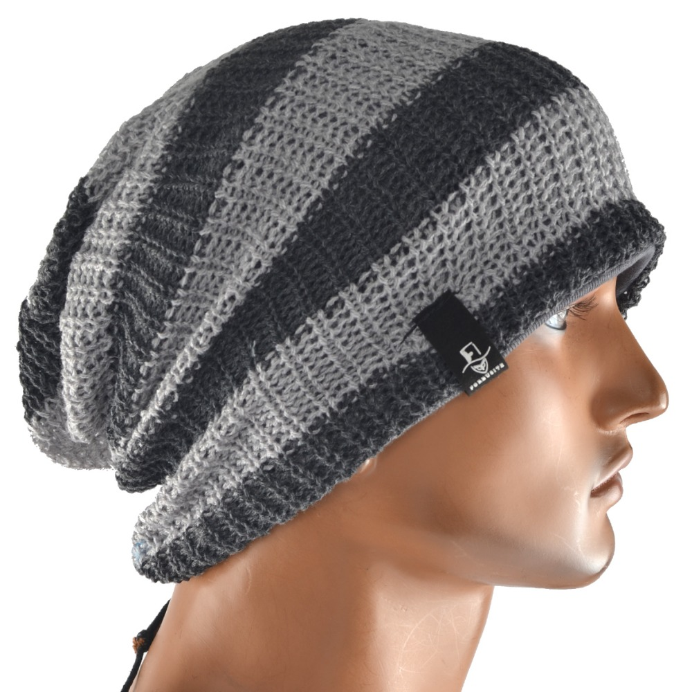 Slouch Beanie Cap Striped Knitted Skullcap Of Men Baggy Cotton Casual  Hat Unisex FORBUSITE mens summer cap thin beanie cool skullcap hip hop casual hat forbusite