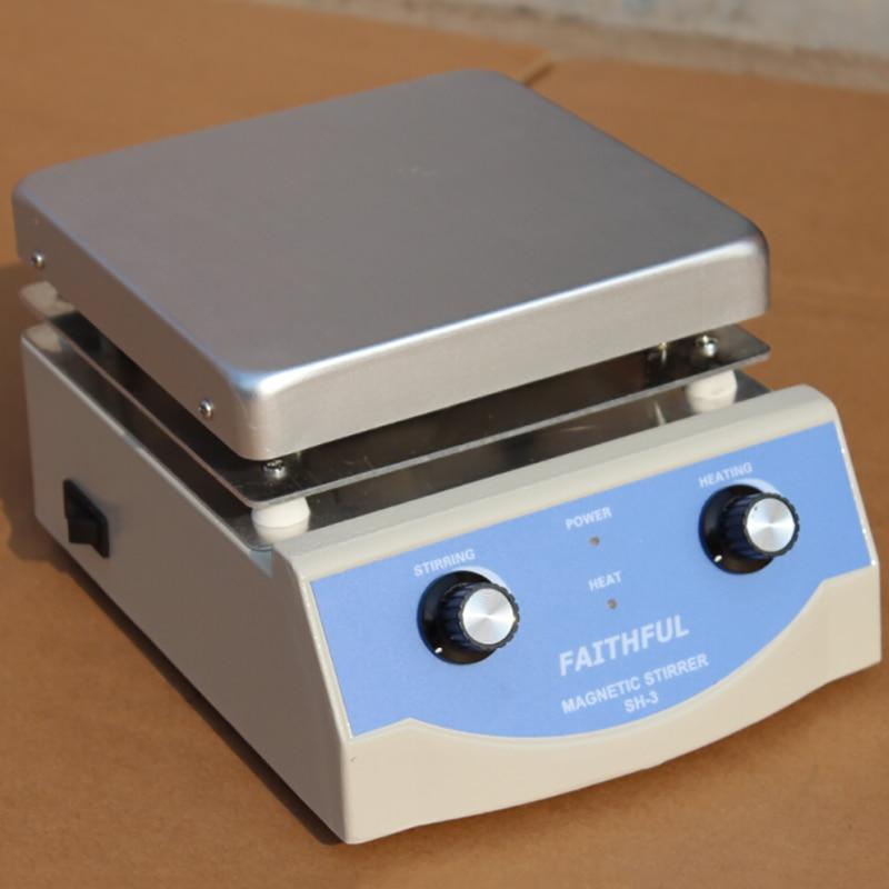 Agitatore magnetico riscaldante da laboratorio SH-3, pannello in alluminio 17x17cm, 0 ~ 1600 giri / min, volume 5 l,!