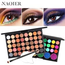 NAQIER палитра для макияжа глаз, 40 цветов, матовая палитра теней для век, блестящая пудра, тени для век, кисть для земли, набор, штампы, пигмент