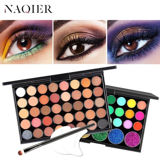 NAQIER Eye Makeup Nudes Palette 40 Color Matte Eyeshadow Pallete glitter powder Eye Shadows Earth brush set stamps pigment
