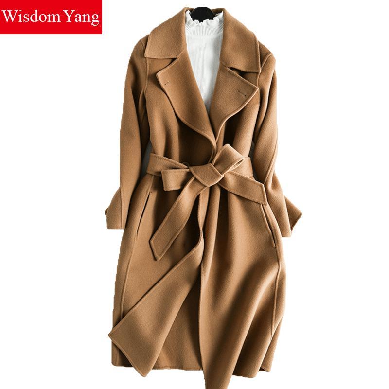 Wisdom Yang Women's Sheep Wool Coats Camel Wine Red Warm Winter Belt Elegant Trench Long Coat 2017 Jaqueta Feminina Inverno