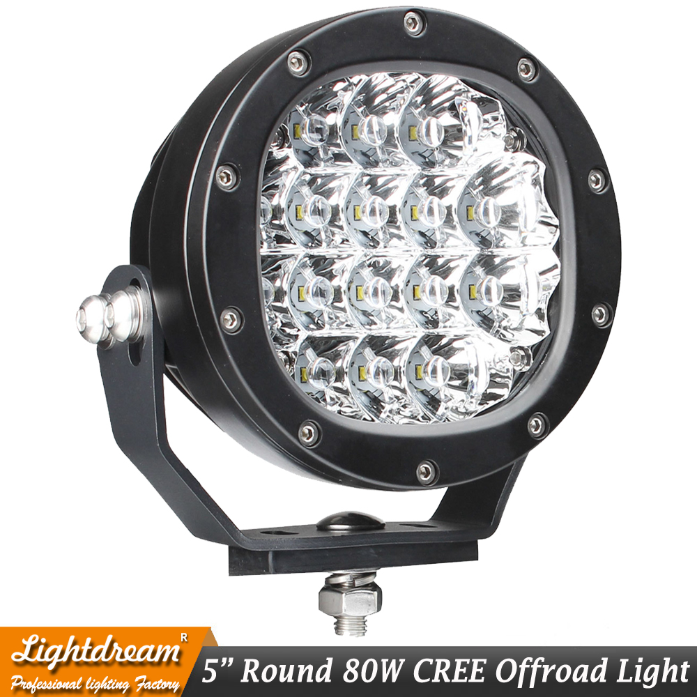 80W Led Work Light Round Led Driving Lamps with Spot and Flood Cover 4WD Off Road Spotlights for Offroad Tractor 4WD ATV x1pc 2pcs 80w 5inch led work light round led driving lamps with spot and flood cover off road fog bulb for offroad tractor 4wd atv