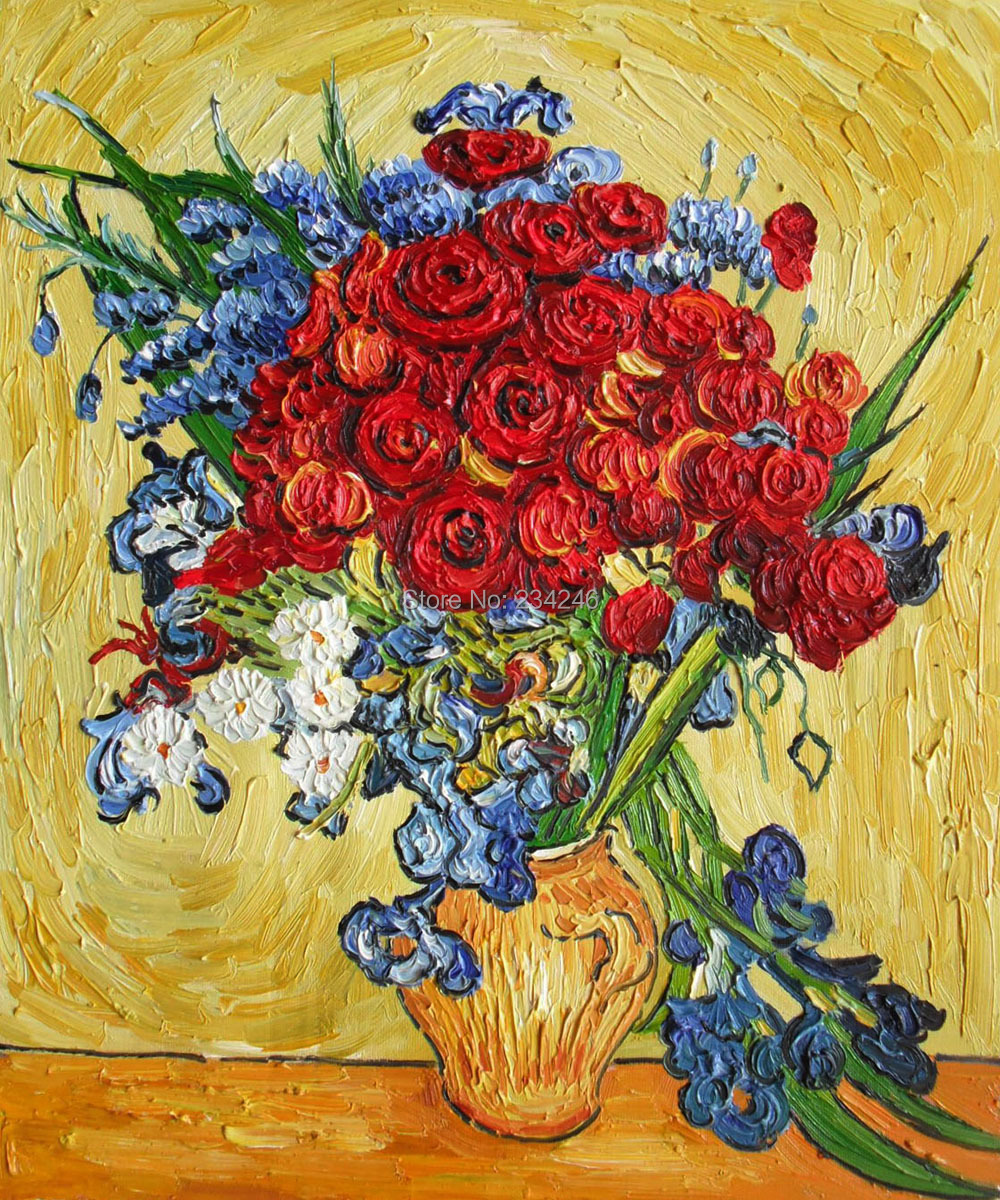 Poppies and iris collage by vincent van gogh flower oil painting poppies and iris collage by vincent van gogh flower oil painting reproductions still life painting canvas art hand painted 100 in painting calligraphy reviewsmspy