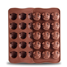 422e059323c 15 Holes Non-stick Kitchen Baking Tools 3D Cartoon Pig Shape Food Grade  Silicone Candy
