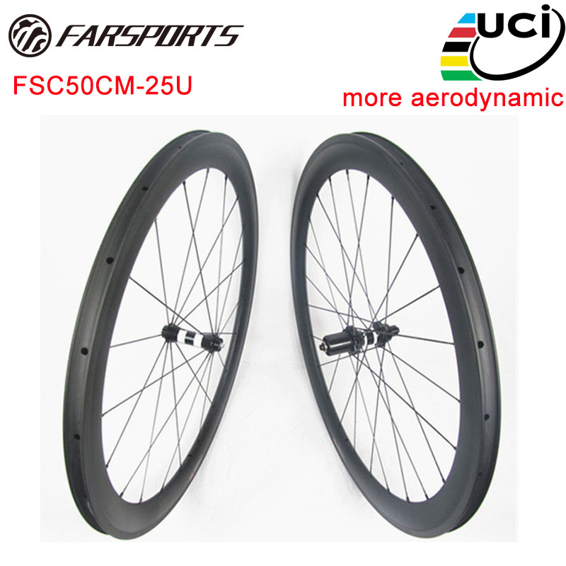 Loin Sport FSC50CM-25U carbone vélo de route roues, 50mm x 25mm pneu jantes avec aérodynamique, DT 350 s hubs, droite Pull