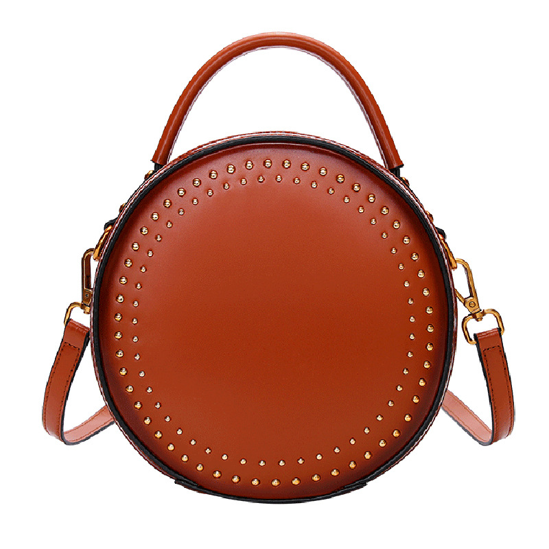 Vintage rivet mini circular Round packet for Women Second layer of Split leather 2018 Small bag все цены