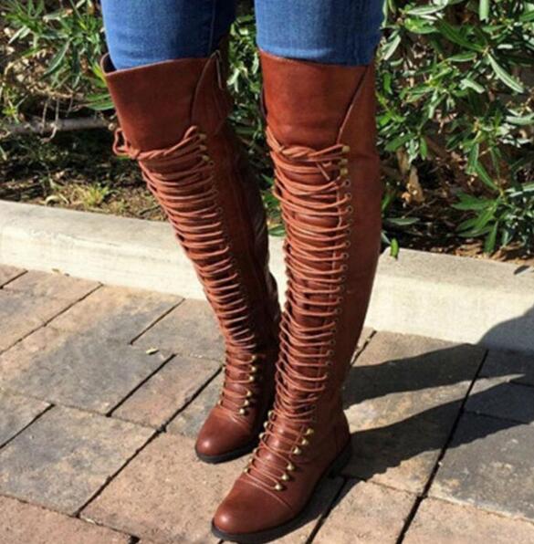 Knee High Booties Woman Cross-tied Riding Boots Women Shooes Chaussures Femme Ete Zip Rivets Girls Sapato Feminino