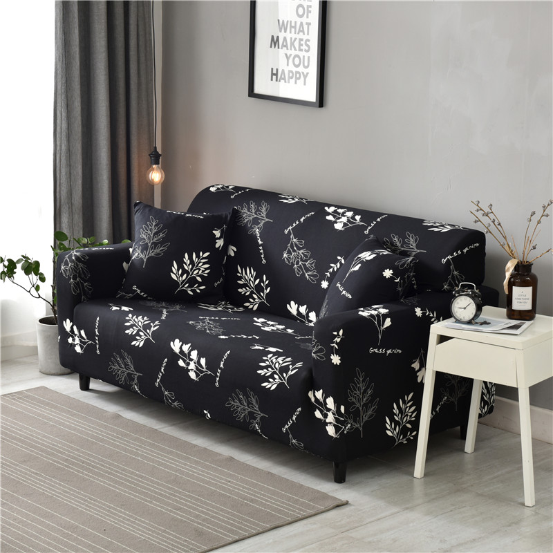 US $4.9 50% OFF|Stretch Elastic Printed Sofa Cover White Flower in Black  Cloth Universal Cases Sofa Slipcovers for Home Decor 1/2/3/4 Seaters-in  Sofa ...