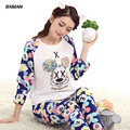 BXMAN Brand Women Pajamas Spring Cotton Animals Cartoon O-Neck Full Sleeve Pyjamas Women Homewear Pajama Suit 327