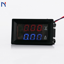 Amp двойной цифровой вольтметр двойной дисплей DC 100 в 10A вольтметр измеритель тока тестер Вольтметр Амперметр синий красный светодиодный