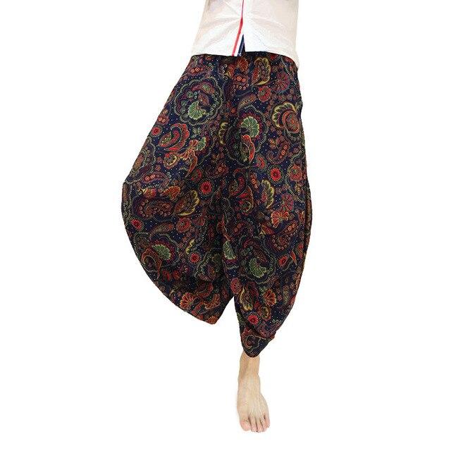 Falda de Flores de verano de Los Hombres Pantalones de Hip Hop Recortada Tobillo Longitud Pantalones Harem Tiro Caído Baggy Loose Fit Flor de Lino pantalones