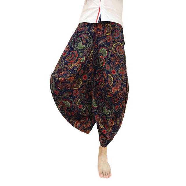 Summer Men`s Floral Skirt Pants Hip Hop Cropped Ankle Length Drop Crotch Baggy Loose Fit Linen Flower Harem Pants Trousers