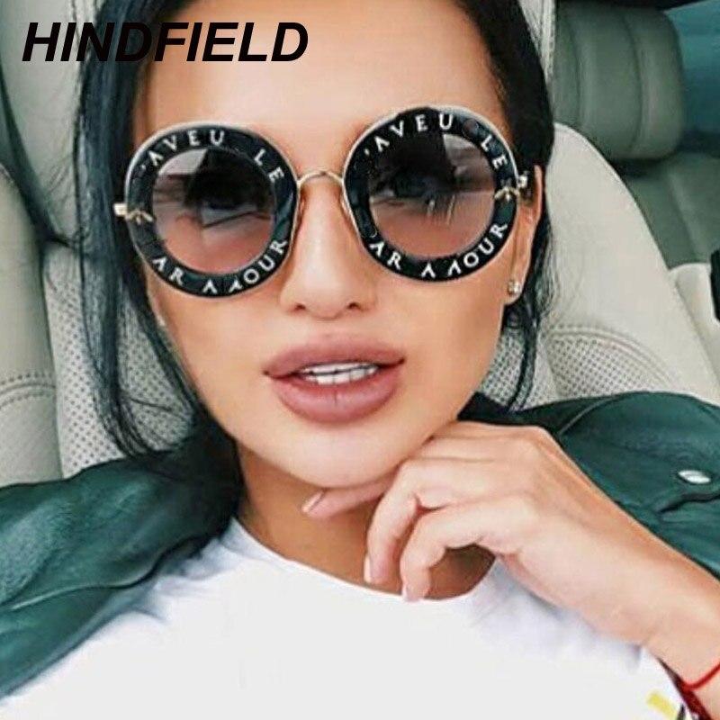 Retro Round Sunglasses Women Brand Designer English Letters Bee Metal Frame Circle Sun Glasses Fashion Female Shades Oculos