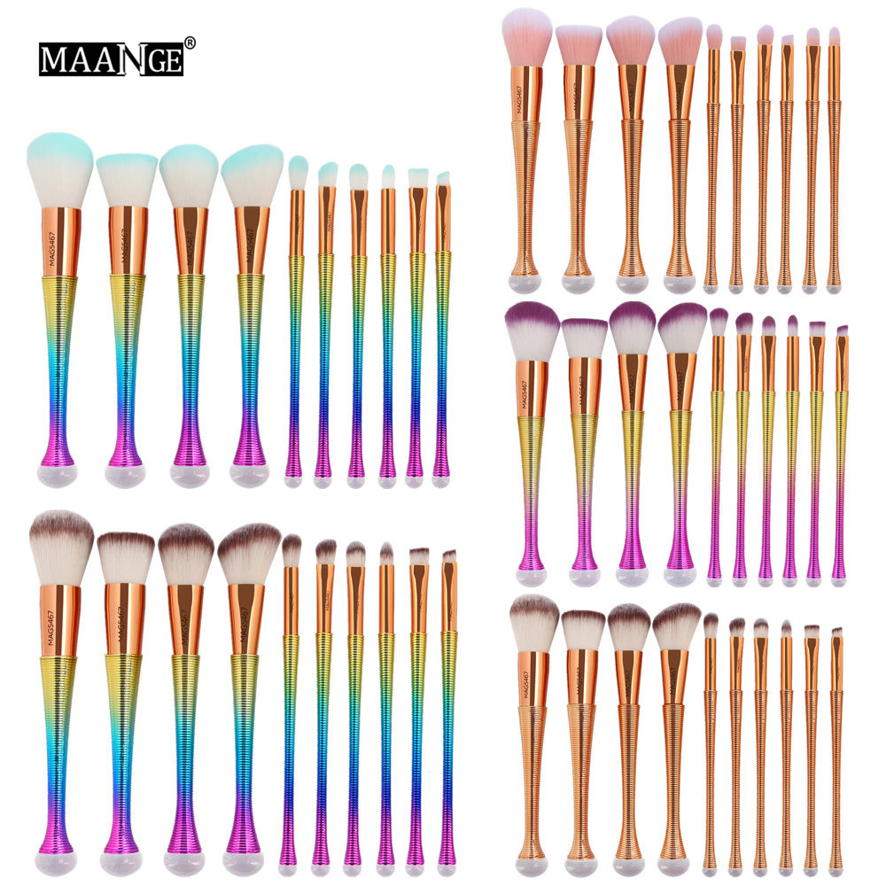MAANGE 10PCS Pro Makeup Brushes Set Foundation Blending Powder Eyeshadow Contour Concealer Blush Cosmetic Beauty Make Up Kits цена и фото