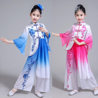 Girls Sequins Embroidery Chinese Folk Dance Costumes Children Fan Yangko Classical Dancing Stage wear Performance Clothing Suits