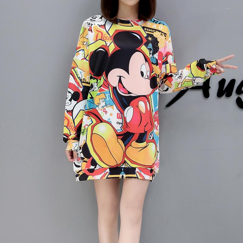 2019 New Spring  Autumn Cute Cartoon Printed Large Size Mid-length Coat Fashion Women's Hedging Casual Fashion Sweatshirt Women