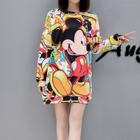 Anlencool Women 2019 Spring new cartoon print large size long Coat fashion female Hoodies & Sweatshirts Mickey women's clothing