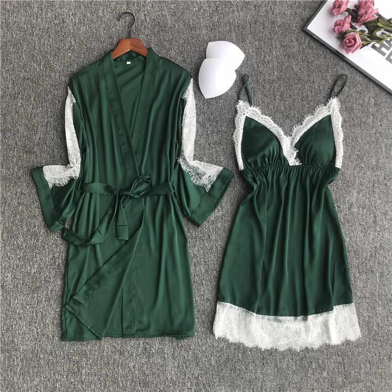 444053ffa986 Detail Feedback Questions about Sexy Green Chinese Female Rayon Robe Suit  Nightwear Lace Trim Sleepwear Kimono Bath Gown Bride Bridesmaid Wedding  Robes Set ...