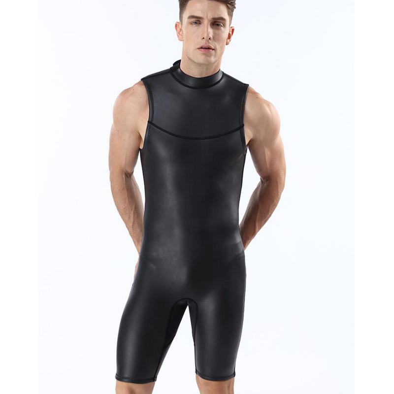 2f9878f1ef0fd Jersqons Men 2mm Sleveeless Short Pants Smooth Skin Neoprene Triathlon Suit  Wetsuit Diving Suits Swimsuit-in Wetsuit from Sports & Entertainment on ...