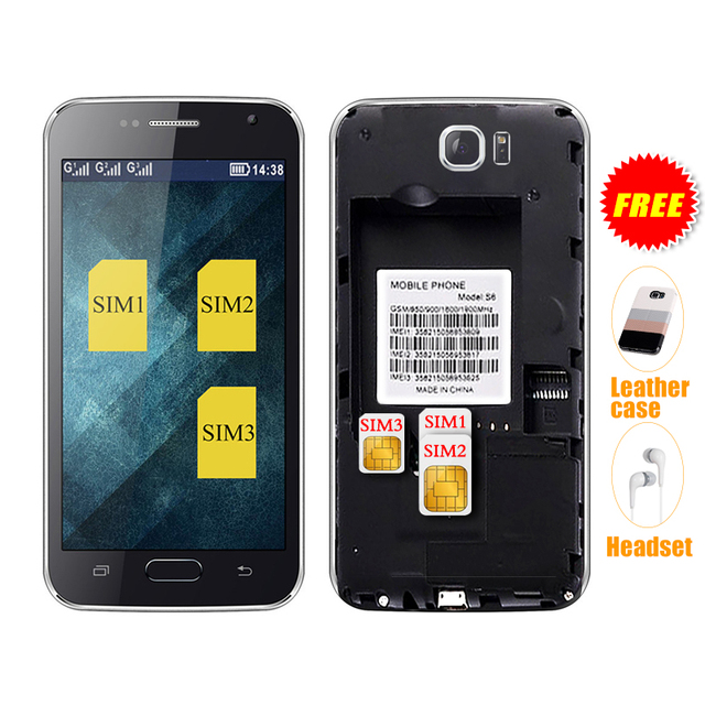 Servo s6 4.6 pulgadas tres tarjetas sim de teléfono móvil 3 tarjetas sim de teléfono wifi bluetooth abrió el teléfono móvil p092