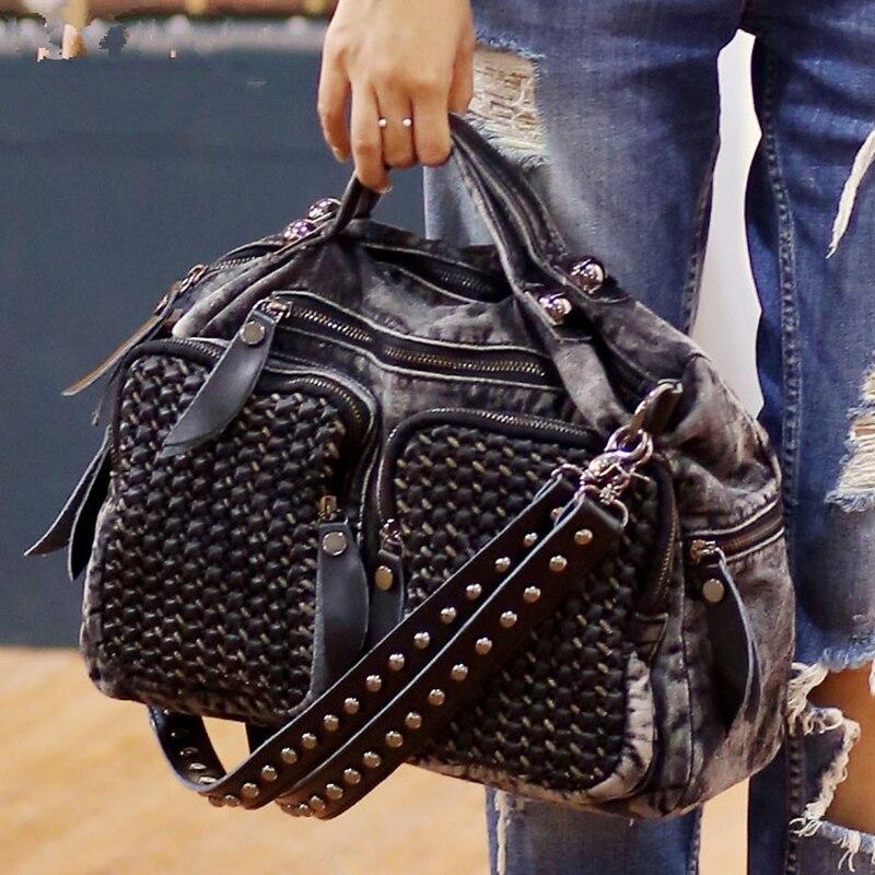2018 New Fashion Rivet Women jean Bag handbag ,ladies' cool Denim bag shoulder bag Messenger Bag Motorcycle Bag Multi-pocket ~16