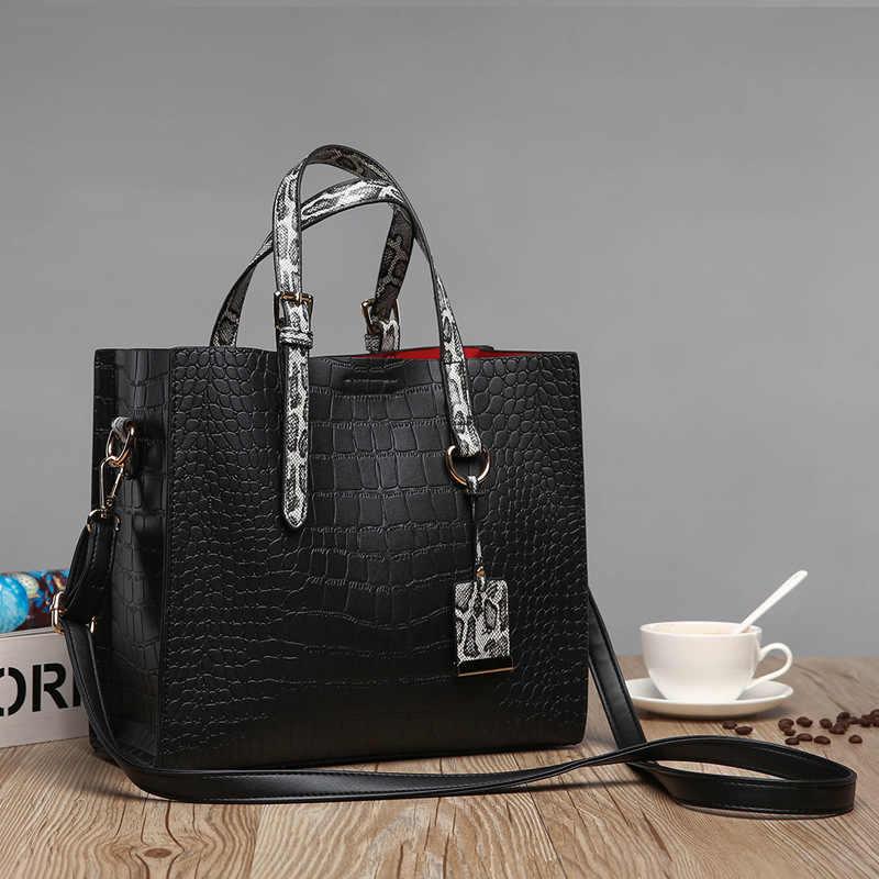 Echtes Leder Handtasche Rot Krokodil Patent Leder Tote Tasche Frauen Handtaschen Luxus Frauen Taschen Designer Umhängetasche Schulter C825