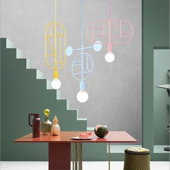 Nordic Lovely Art Pendant Light Loft  Creative Geometrical Designer Coffee Shop Kitchen Hanging Lights With Led Bulbs