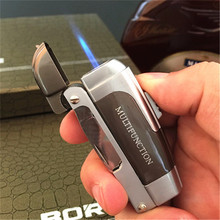 Multifunction Lighter Butane Jet Torch Lighter Gas Cigar Lighter Turbo Windproof With Knife multifunction zinc alloy butane gas screwdriver lighter red yellow