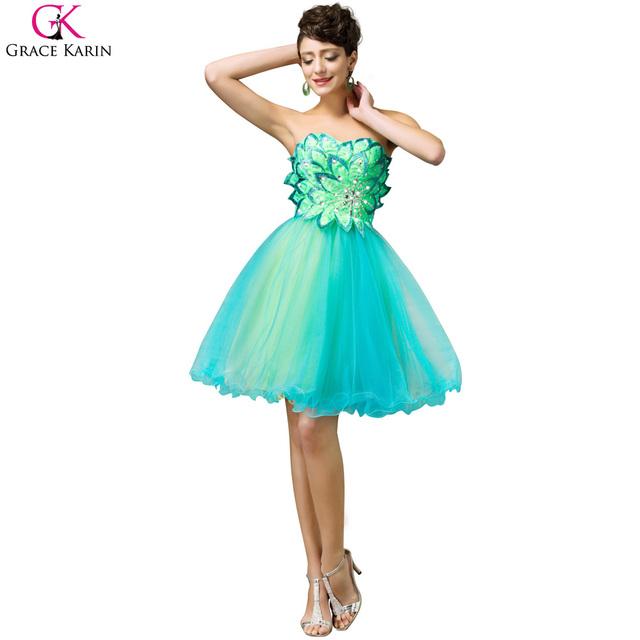 Vestido de Cóctel Sweetheart Plus size Gracia Karin Sin Tirantes Formal de Los Vestidos de Boda Del Verano Bonito Vestido de Fiesta Vestidos de Cóctel 2017
