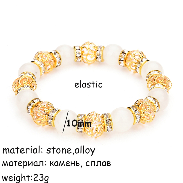 LUBINGSHINE Crystal Natural Stone Beads Bracelet Bangles Charms Strand Bracelets For Women Handmade Elastic Wrist Jewelry