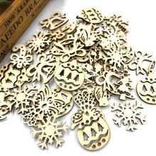 50 шт смешанные размеры ассорти веселого Рождества деревянные кнопки много ремесло карты украшают WB545