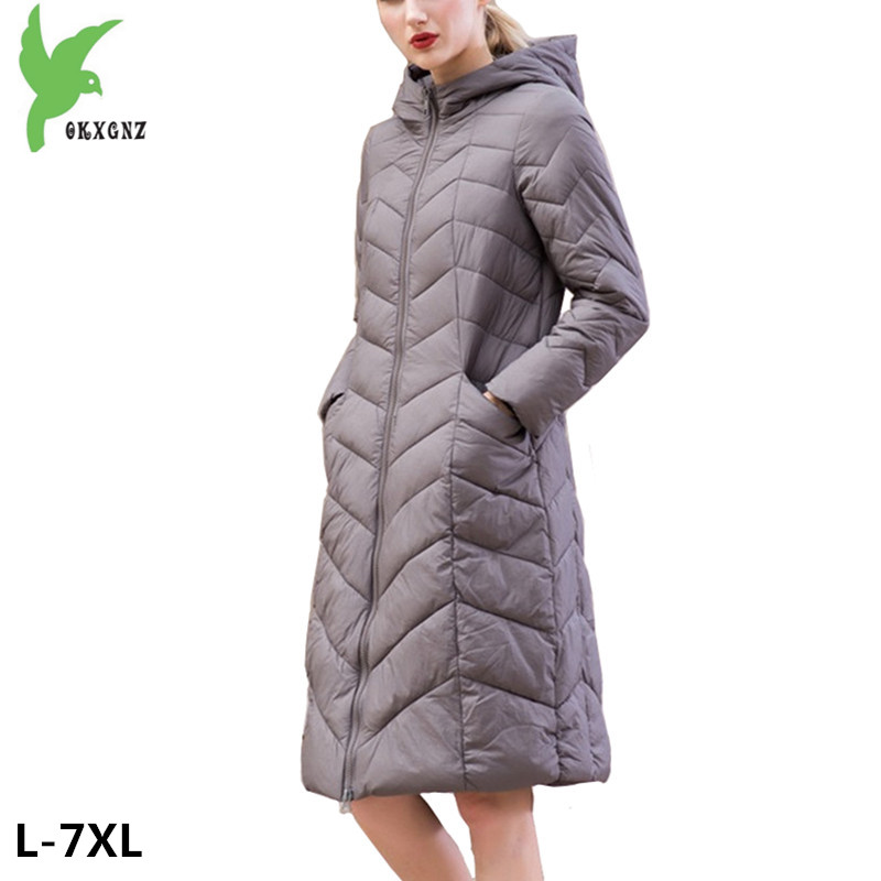 2018 New Women Winter Down cotton Jacket Coats Plus size 7XL Long style Parkas Light Thin Hooded Warm Cotton Jackets OKXGNZ 1253 2018 new women winter down cotton jacket coats plus size 7xl long style parkas light thin hooded warm cotton jackets okxgnz 1253