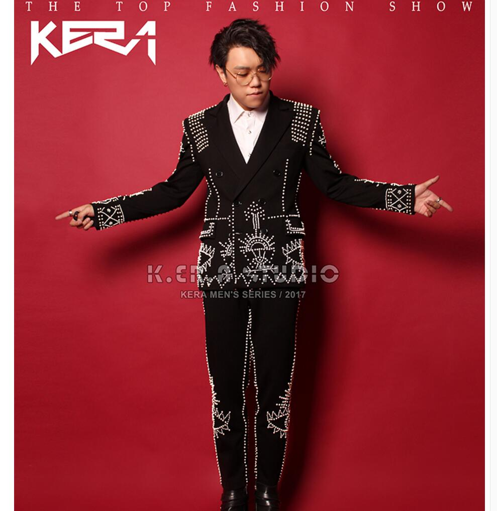 S-5xl New 2020 Men's Double - Breasted Suit Jacket Performance Clothing Singer Stage Costumes Formal Dress