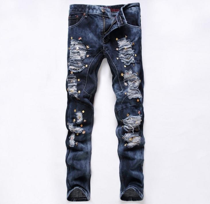 European American Style 2016 fashion brand cotton men jeans luxury Men's casual denim trousers Hole Slim grey Straight jeans 589 цены онлайн