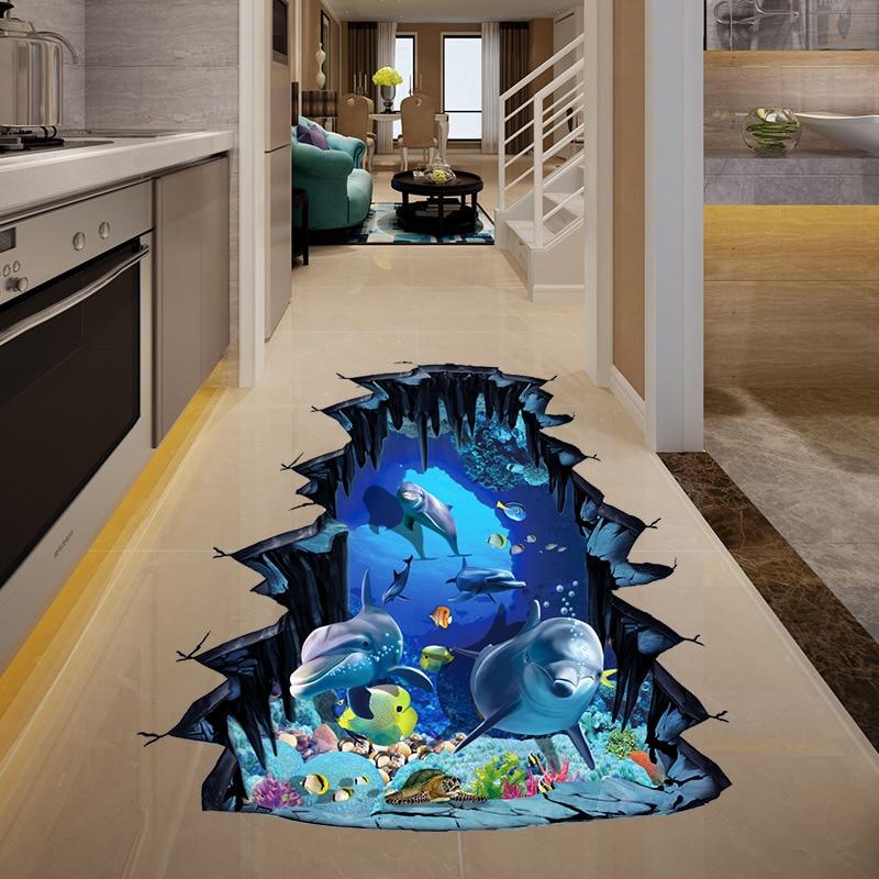 Mural Art Floor-Stickers Wall-Decals Dolphin Bedroom Vinyl Sea-Animals Home-Decors 7-Kinds